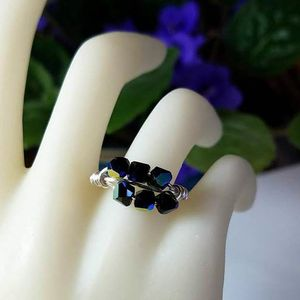 Black Multistone Wire Wrap Ring - Crystal Jewelry - Custom Gold or Silver Band - Personalized Size 4 5 6 7 8 9 10 11 12 13 14 15
