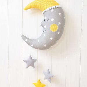 Happy moon in grey and yellow Nursery / Kids Rooms Pillow