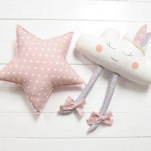 Happy pink star & cloud  Nursery / Kids Rooms Pillow / wall decor