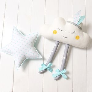 Happy blue star & cloud  Nursery / Kids Rooms Pillow / wall decor