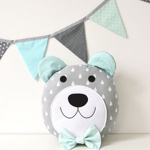 Happy teddy bear in grey and blue Nursery / Kids Rooms decorative Pillow