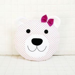 Happy teddy bear in pink with bow tie Nursery / Kids Rooms Decorative Pillow