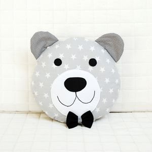 Happy teddy bear with black bow tie in grey  Nursery / Kids Rooms Decorative Pillow