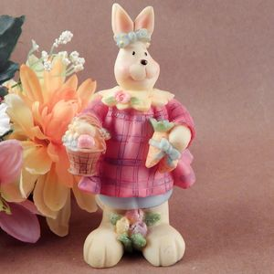 Rabbit Figurine Girl Bunny Colorful Hand Painted Glittery Resin Spring Easter Home Decor
