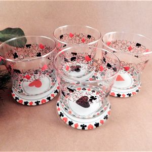 Cocktail Glasses Set of Four Playing Card Suit Red and Black Clear Glass Double Old Fashioned Novelty Barware Home Bar Beverage Serving