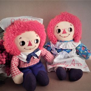 "Raggedy Ann and Andy 12"" Dolls Vintage 1982 Knickerbocker Applause Classic Boy Girl Rare Cloth Doll Set 8456 8457"