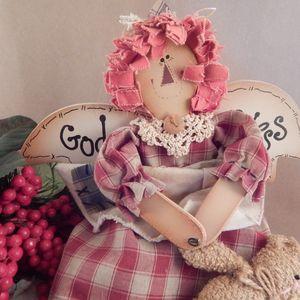 Angel Doll Raggedy Americana Folk Art Cloth and Wood Wall Hanging Rag Doll 16