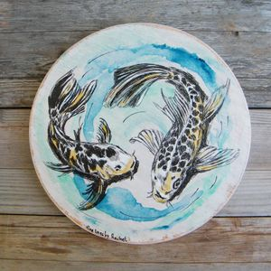 Round Wood Sign, Koi Fish Print On Wood, Fish Wall Sign, Pisces Print, Housewarming Gift, Rustic wood sign, Nautical art, Oval Wall Decor