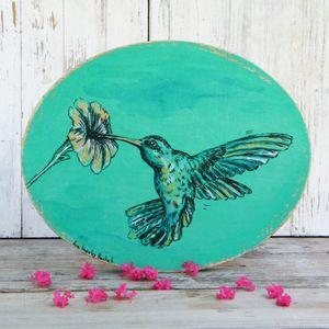 Hummingbird Wall Sign, Oval Wall Art, Hummingbird Print, Bedroom Decor, Hummingbird Art, Rustic wood sign, Nature Art, Round Wall Hanging