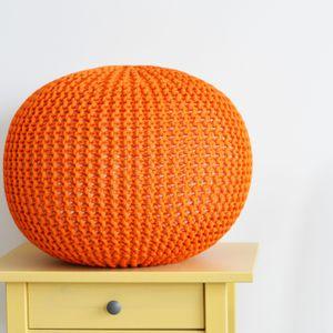 Orange Ottoman, Crochet Pouf, Floor Pillow