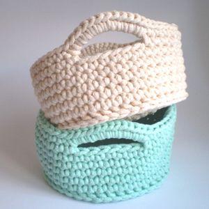 Hand knitted crochet basket