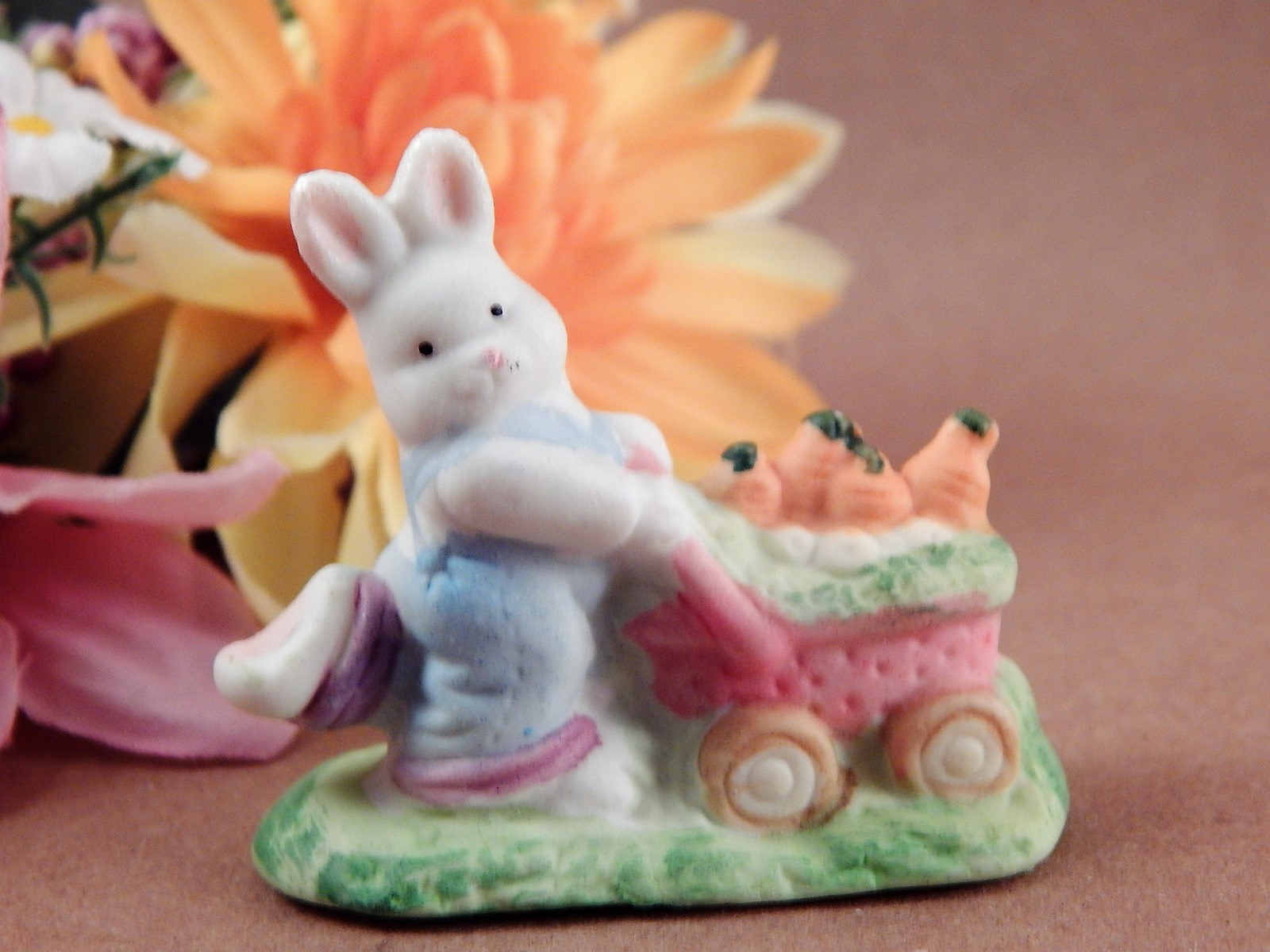 White Bunny Rabbit Carrot Cart Miniature Figurine Hand Painted Porcelain Spring Easter Decor Farmhouse Vintage Collectible
