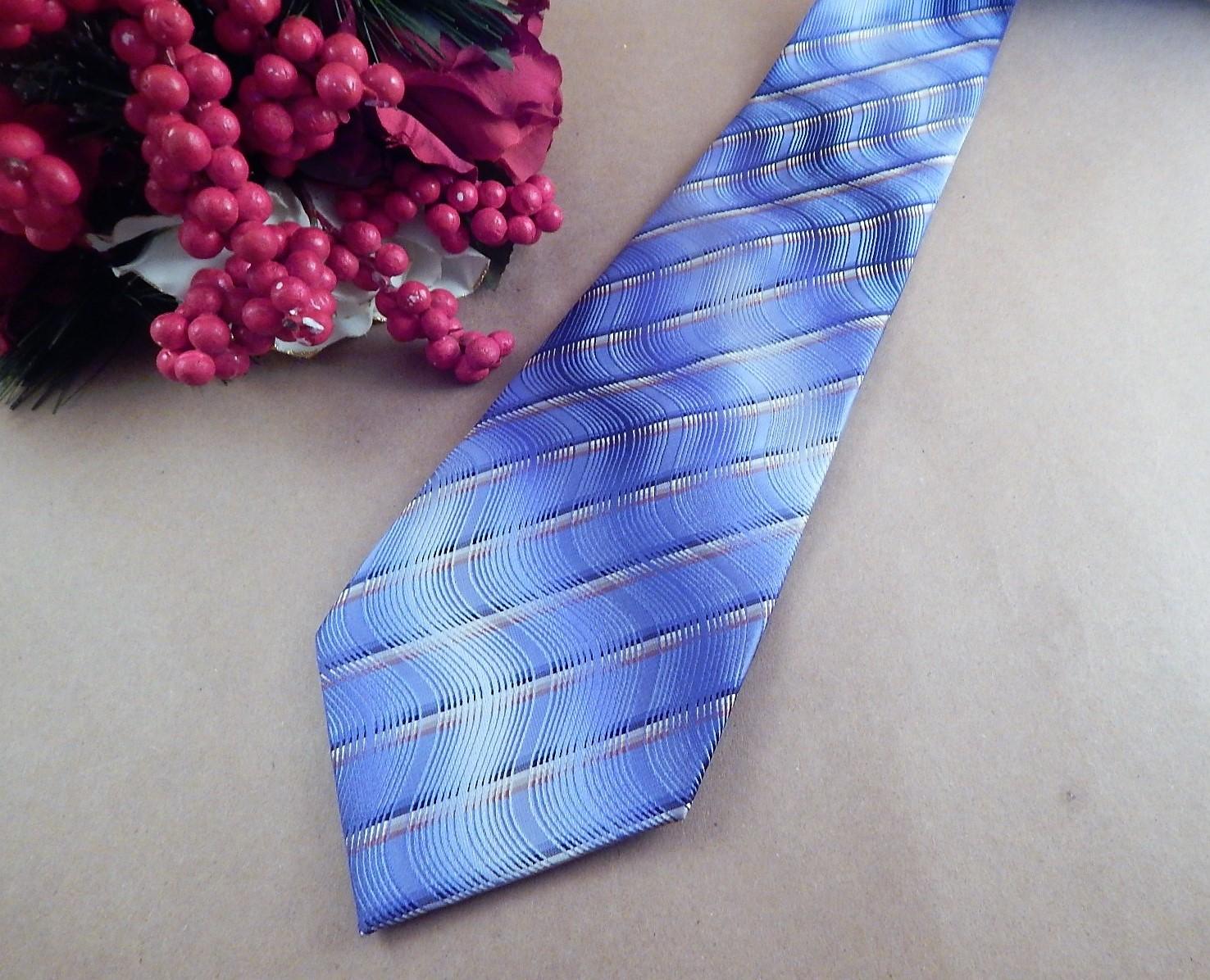 Mens Necktie Van Heusen Silk Tie Light Blue and Gold Striped Neckwear Vintage Mens Business Suit Formal Accessory