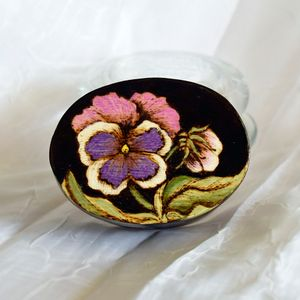 Small Pyrographed Pansy Trinket box
