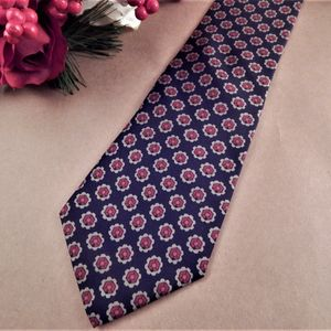 Mens Necktie Silk Tie Mallory Church Black and Burgundy Geometric Dots Neckwear Vintage Mens Apparel Business Suit Formal Accessory