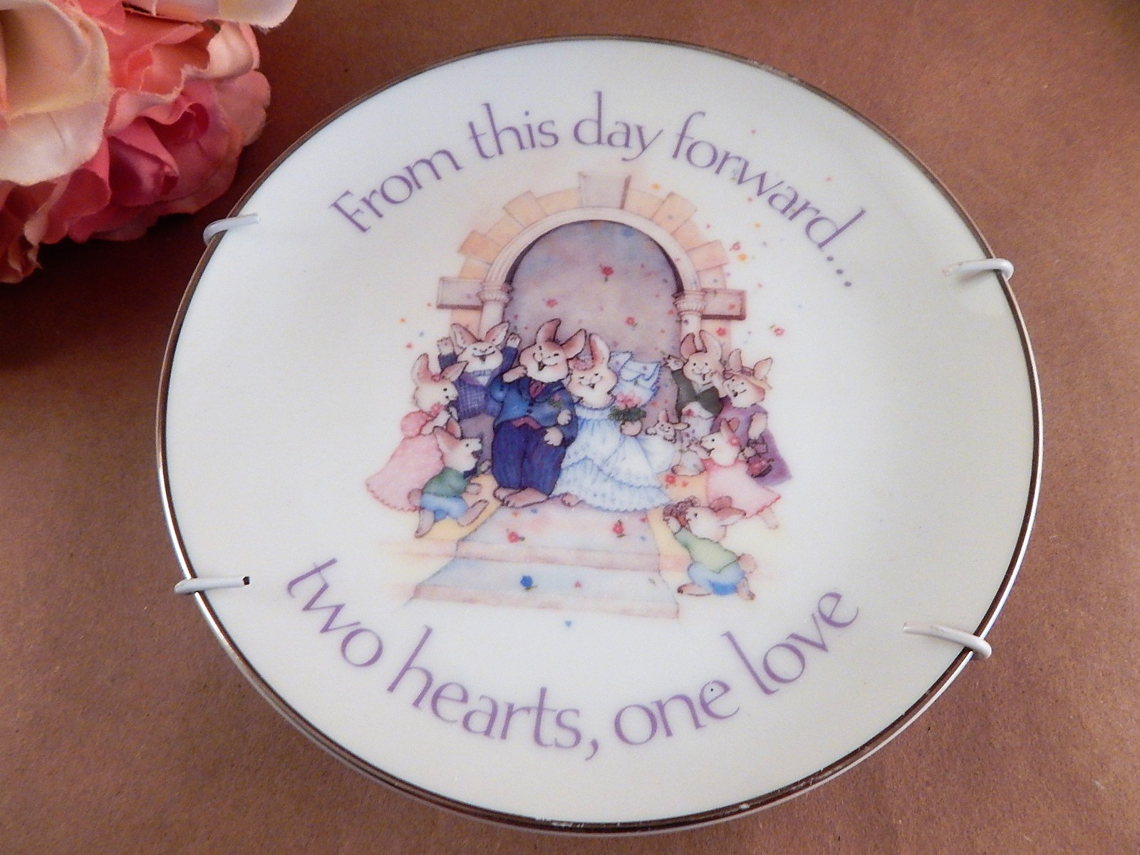 Wedding plate american greetings porcelain from this day forward two wedding plate american greetings porcelain from this day forward two hearts one love vintage 1986 collectible m4hsunfo