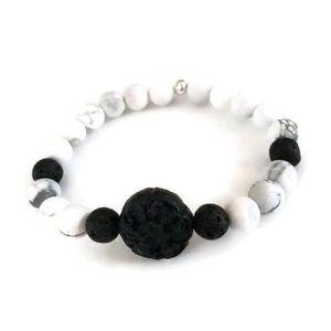 Black Lava Beads Bracelet | White Howlite Gemstones | Beaded Stretch Bracelet | Aromatherapy Essential Oil Diffuser | Men's Bracelet