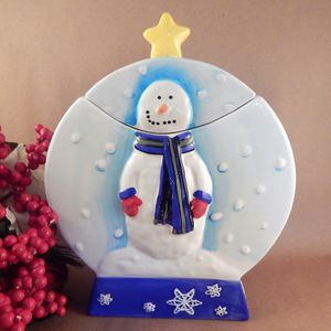 Cookie Jar Snowman Snow Globe Hand Painted Ceramic Storage Container Winter Holiday Christmas Treat Jar
