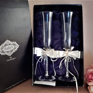 Wedding Champagne Toasting Glasses Shannon Crystal Diamonds Flute Pair by Godinger Embellished with Removeable Ribbon and Heart Charms