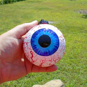 """Eye See You!""  3.5"" Glass Hand Painted eyeball Ornament"