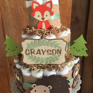 Woodland Animals Diaper Cake, Woodland Table Decorations, Baby Shower, Party Supply, Neutral Baby gift