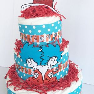 Dr. Seuss Diaper Cake, Twins Diaper Cake, Dr. Seuss Baby Shower Party Supply