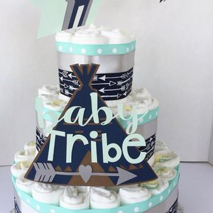 Tribal Baby Shower, Tribal Diaper Cake, Teepee Arrows Baby Shower Decor