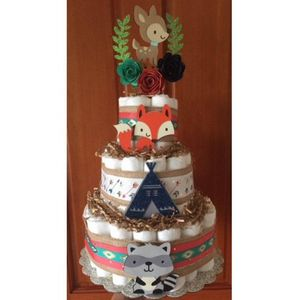 Tribal Aztec Diaper Cake, Baby Shower, Party Supply, Diaper Cakes, Woodland Diaper Cake