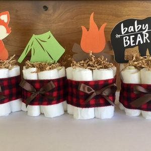 Lumberjack Diaper Cake, Camping Diaper Cake, Camping Baby shower, Lumberjack Baby Shower Decorations