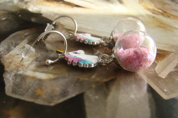 Unicorn earrings, Glass globe hoops, Fairy tale earrings, Magic jewelry, Xmas daughter gift, Christmas unique gifts.