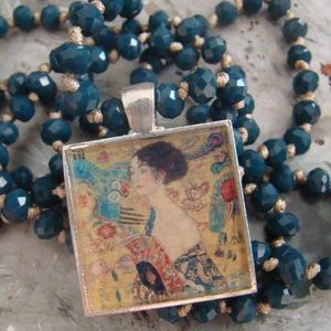 Wearable art, Lady with the fan, Klimt painting, Photo necklace, Rosary necklace, Square charm, Mother's day gift, Unique Christmas gifts.