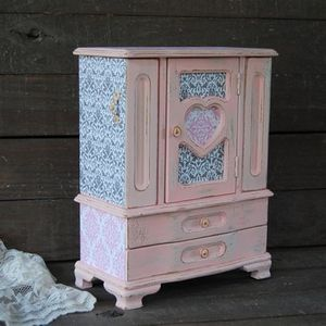 Pink damask jewelry armoire