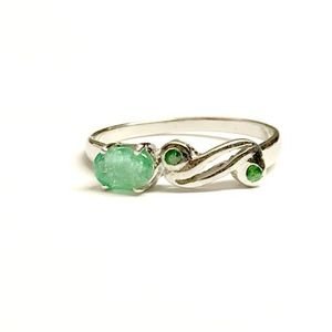AAA Quality EMERALD TSAVORITE 925 Sterling silver ring , Green Garnet , May Birthstone , Engagement Ring ,Valentine gift for loved ones
