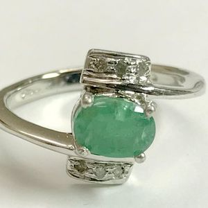 VALENTINE Gifts EMERALD DIAMOND Rings in 925 sterling silver,May birthstone,emerald cut ring, emerald engagement ring, antique emerald ring