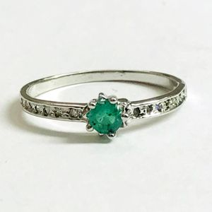 DAINTY EMERALD DIAMOND Rings , May Birthstone , Natural Emerald , Green Beryl , emerald engagement ring ,Promise Ring for her .....