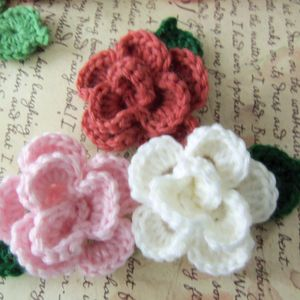 Set Of Three Crochet Flowers and Leafs Appliques. Handmade Crochet Flowers and Leafs.
