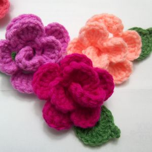 Set Of Three Crochet Flowers and Leafs Appliques.  Irish Pink, Peach And Fuchsia Flowers And Leafs.