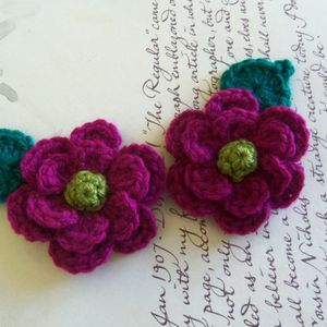 Set Of Two Magenta Crochet Flowers And Leafs Appliques.