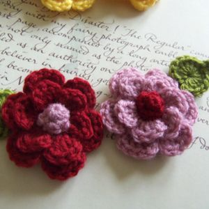 Set Of Two Crochet Flowers And Leafs Appliques. Dark Red And Light Lilac Flowers and Leafs.