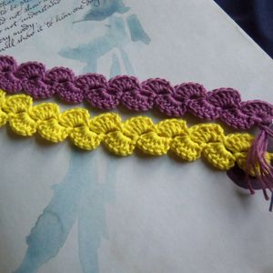Yellow And Lilac Crochet Bookmarks. Handmade Bookmarks. Crochet Bookmarks.