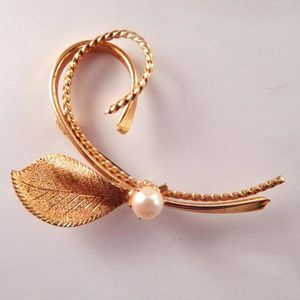 Pearl Brooch Vintage Womens Costume Jewelry Gold Pin June Birthstone