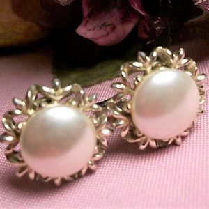 Earrings Vintage Coro Signed Jewelry Clip On White Pearl Bridal Accessory Wedding Jewelry