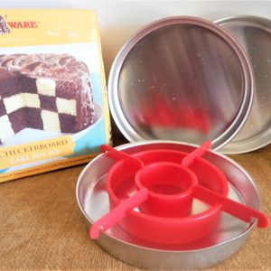 Checkerboard Cake Pan Baking Set Three Pans Divider Instructions Box Vintage 1980s NordicWare Bakeware