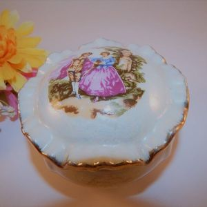 Ring Keeper Jewelry Trinket Box Vintage Fine China French Provencial Covered Dish Gift for Her