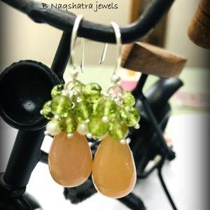 PERIDOT MOONSTONE PEARL Dangle & Drop Earrings,August Gemstone,Chandelier Earrings.