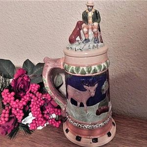 Vintage Beer Stein Hand Painted Ceramic Woodland Hunting Theme Cokllectible Decorative Barware