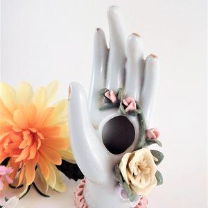 Hatpin Holder Porcelain Hand Ring Tree Vintage 1950s  Boudoir Decor Vanity Table Accessory