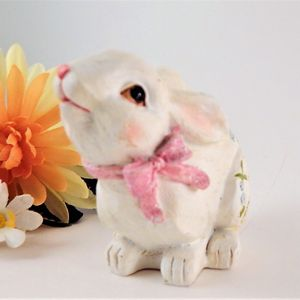 Hand Painted Floral Rabbit White Bunny Figurine  Carved Wood Style Resin Spring Easter Decoration