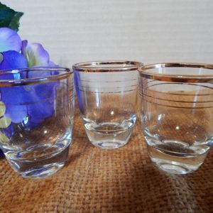 Shot Glasses Vintage 1960s Barware Three Shooters Gold Band Clear Bar Glass One-Ounce Jiggers made in France