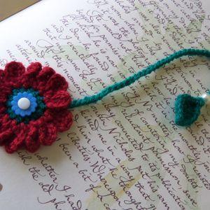 Crochet Flower Bookmark. Dark Red Flower Bookmark. Handmade Bookmark.